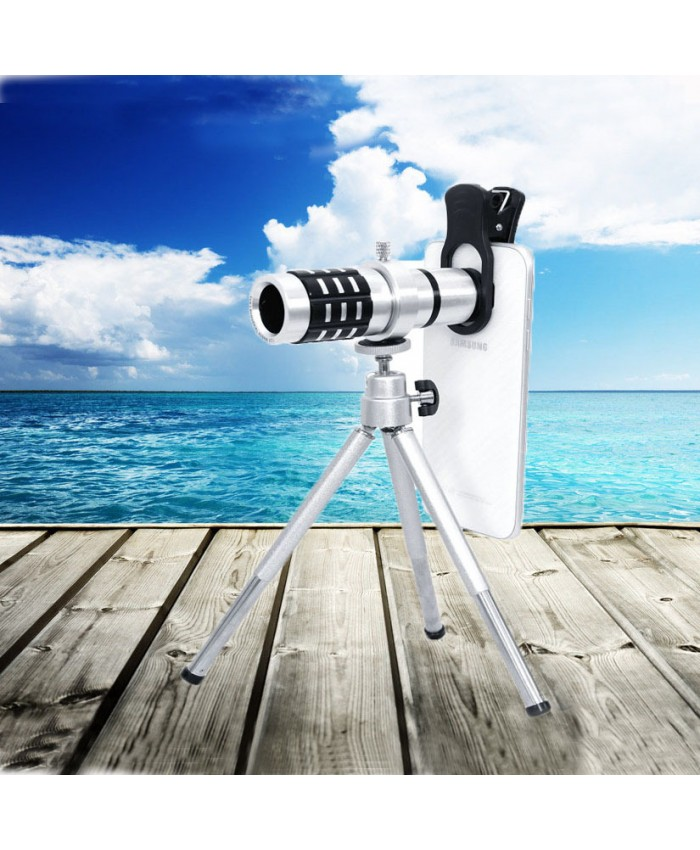 12x metal mobile phone telescope universal travel photo external lens
